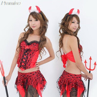 Wholesale Devil Girls Uniform - Wholesale-Hot Cosplay Little Red Devil costume Halloween Costumes for Women sexy girl dress role playing suit uniforms nightclub clothes