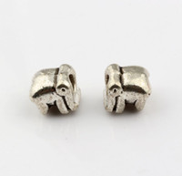 Perles D'éléphants Pour Bracelets Pas Cher-Hot! 100pcs Antique Silver Alloy Elephants Large Hole Spacer Bead Fit European Beads Bracelet 9.5x10mm