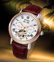 Wholesale Eyki Watch Steel Band - fully Automatic Mechanical mens classic business wrist Watches men top Luxury Brand Genuine Leather coffee band Roman numbers male clock