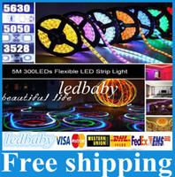 rgb levou luz única venda por atacado-X20 melhor preço LED Faixa de Luz 3528/5050 SMD RGB / Branco / Quente / Verde / Vermelho à prova d 'água não-Impermeável 300 LEDs 3000 LM Cor Única Flexível
