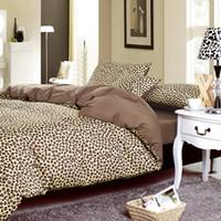 Wholesale leopard print cotton bedding - Wholesale-2015 Bed linen leopard print Duvet cover set 100% Cotton 40TC Bedding sets 3-4pc(Duvet Cover Bed sheet Pillowcase) King Queen