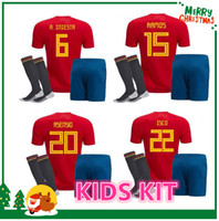 Wholesale Boys Shirts Sale - 2018 Spain kids kit Jersey ISCO PIQUE SERGIO RAMOS A. INIESTA M. ASENSIO THIAGO MORATA soccer child boy shirt Football uniforms sales Spain