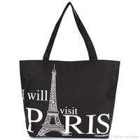 Wholesale Eiffel Shopping Bag - 2015Large Space Women Canvas Handbag Zipper Shopping Shoulder Bag Paris Eiffel Tower Pattern Girls Beach Bookbag Casual Tote Fashion 01104