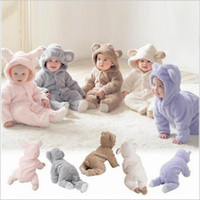 Wholesale Kids Fleece Jumpsuit - Baby Clothes Hooded Rompers Toddler Fleece Rompers Newborn Winter Onesies Cartoon Jumpsuits Kids Cotton Bodysuits Hot Fashion Overalls 3622