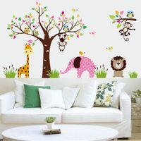 Wholesale Kindergarten Wall Murals - Animals and Tree Cartoon wallpaper wall Stickers Kindergarten and Kids Room Decor HDE_00S