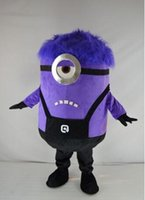 Wholesale Minions Fancy Dress Costume - Hot Fast Free Shipping Purple Despicable ME MINIONS Cartoon Mascot Costume Outfit Fancy Dress