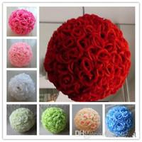 fleurs suspendues achat en gros de-6 pcs Rose artificielle boules de soie fleur embrassant des balles suspendus rose balles ornements de noël décorations de fête de mariage rose bouquet