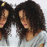 Wholesale machine made virgin wig resale online - Hair Wigs For Black Women Bouncy Curly Full Lace Wigs Deyable Natural Color Front Lace Wigs with Natural Hairline Bella Hair