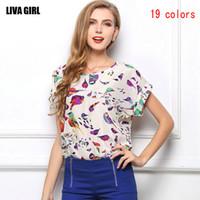 blusa mujeres pájaros al por mayor-19 colores estilo europeo Mujeres Floral pájaro Impreso Blusa de Gasa Camisas de manga corta ropa de mujer Ropa
