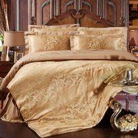 Wholesale Black Flower Comforter - muchun Brand Bedding Sets Pure Color Flower Pattern 4 pcs Comforter Duvet Cover Bed Sheet Jacquard Home Textiles