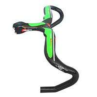 manillar verde carretera al por mayor-100% manillar de carbono 90/100/110 / 120mm * 400/420 / 440mm bicicleta de carretera manillar integrado verde
