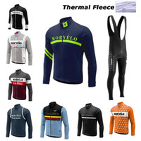 Wholesale green cycling jersey bibs - Men Cycling jersey Morvelo winter thermal Fleecehombre long sleeve Pro bicycle bike jersey Bycle bib long pants Sets cycling clothing