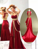 Wholesale Empire Red Sweetheart Mermaid - Arabia Clothing Red And Gold Stain Mermaid Prom Dresses 2015 Real Photo Elegant Sweetheart Puplem Beaded Formal Evening Gowns Custom Made