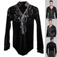 Wholesale Top Dresses For Boy - Man Latin Ballroom Dancing Dresses Top High-Grade Velvet Dance Wear Drilling Boy Clothes For Dancing Men Dance Exercise Shirt