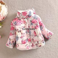 Wholesale Girls Mandarin Collar - Girls thicken warm coat baby girl winter cotton-padded clothes Children Clothing kids flower outwear baby girl's jacket coats
