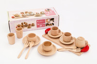 Wholesale Children Wooden Tea Set - Christmas gifts 2016 Kitchen Toys Wooden Classic Toys Children Girl Pretend Play House Toys Log Cutlery Tea Set Juguetes Wood Paint Eco-frie