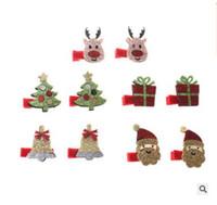 Wholesale Christmas Hairclips - Baby Girls HairClips Christmas Gift Girls Party HairClip Accessories Santa Claus Deer Children Hairpin Infant HeadWear 300pcs Free Shipping