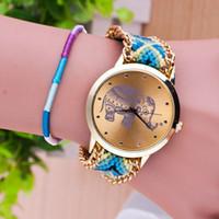 Wholesale Diy Braided Bracelet Pink - 2015 New Wristwatch Elephant Watch Female models knit DIY watches for women Braided colorful handmade DIY bracelet Big Dial