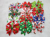 Wholesale Christmas Decoration Clips - Hot selling 3inch Christmas Ribbon Hair Bows WITH CLIP for Christmas Party Decoration Boutique Hair Bows28pcs lot free
