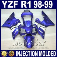Wholesale Cheap Body Fairing - Injection Molded for 1998 1999 YAMAHA R1 fairing kits blue white 98 99 yzf r1 fairings yzfr1 body kit cheap price + 7 gifts