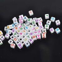 Wholesale Alphabet Letter Cube Acrylic Beads - Wholesale-Wholesale!hot- White Mixed Letter  Alphabet Cube Acrylic Pony Beads Fit Jewelry making 6mm, 1000Pcs YL1004