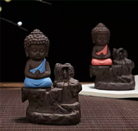 2017 The Little Monk Censer Backflow Incense Burner Pequeno Buddha Cone Incense Burner Incense Sticks Holder Yixing Purple Creative Home Decor