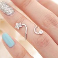 цветок горный хрусталь кольцо регулируемое оптовых-Модные имитация горный хрусталь звезды палец цветок обручальные кольца для женщин свадьба Кристалл ювелирные изделия регулируемый кольцо bague femme