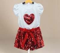 Wholesale White Sequin Heart Top - baby girls shorts sets childrens white tshirts tops with heart + sequin bowknot short pants 2pcs girl boutique outfits kids red gold clothes