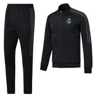 Wholesale Drawstring Jacket - A+++ top quality RONALDO tracksuit 2017 2018 Real Madrid jackets SERGIO RAMOS KROOS BENZEMA JAMES BALE ISCO 17 18 adult tracksuit jacketS