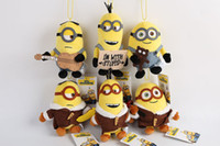 Wholesale Minions Plush Dolls - Minions movie despicable me 3 small yellow cloth stay adorable Plush Doll small backpack Pendant for kids gifts