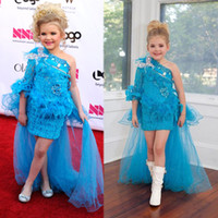 Wholesale Shirts Butterfly Sleeves - 2015 Girls Pageant Dresses Plus Size Fashion Blue Lace Feather Beads Butterfly Rhinestones High Low Little Girls Pageant Dresses Custom Made