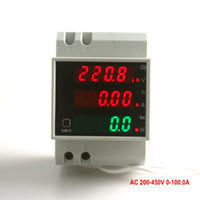 Wholesale Time Display Meter - Digital Voltage Amp Meter With Working Time Din Rail LED Active Power w Factor Display Range AC 200--450V 0-100.0A Energy KWH