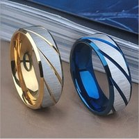 Wholesale Popular Wedding Bands For Men - New Arrivals European and American Popular Stainless Steel Wedding Rings For Women & Men Top Quality Gold and Blue Color The Lowest Pirce