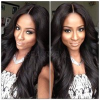 Wholesale Indian Yaki Remy Hair - Silk Top Full lace Wigs Indian Remy Hair 14-22'' Light Yaki Natural straight bodywave 4# #1b #1 natural black Medium 4X4'' Silk Base