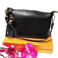 Wholesale ladies first - Women classic first layer real genuine leather shoulder bag ladies messenger handbags Lychee pattern fashion tassel decoration