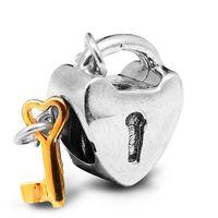 Wholesale Golden Key Love - 100% 925 Sterling Silver Beads Fit Pandora Charms Bracelet DIY Brand Fashion Jewelry Golden Key To My Heart CHarm