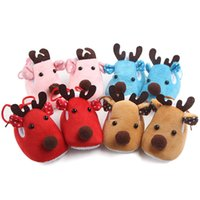 Wholesale Cute Boots For Baby Girls - Baby cute deer boots infants winter indoor warm shoes soft sole lace up first walkers Christmas prewalkers boys girls Xmas gifts for 3-6m