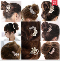 Wholesale Pearl Decorated - women gift bride White crystal flower Pearl Beads comb married Headwear flaxen hair plug comb decorated wedding Accessories