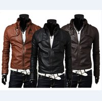 Wholesale Hot Mens Leather Pu Coat - Mens Jackets Fashion Mens PU Leather And Warm Coats With Zipper Hot Male Long Sleeve And Slim Jackets