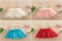 Wholesale Kids Evening Clothes - Best 2016 New Baby Girls Summer corset Sequin Tulle Princess Dresses Children Cute Lace Ruffle Tutu Evening party vest Dress Kids Clothes