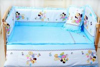 Wholesale Mouse Sets - Baby crib bedding set mikey minnie mouse bedding set 100% cotton bedclothes bed decoration include pillow bumpers mattress 5pcs