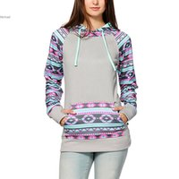 Wholesale Korean Women S Hoodies - Korean Stylish Ladies Women Geometric Print Patchwork Splicing Hoodies Casual Leisure Pullover Sweatershirt S-XLTranksuit #K