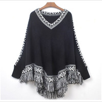 Wholesale Knit Cable Sweater - Winter Oversized Sweaters Women V Neck Cape Style Tassel Loose Sweater Cable Knitting Coat Sweatershirts Pullovers Jumpers