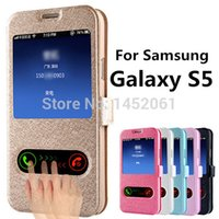 Wholesale Silk Bag Pattern - Wholesale-Luxury S5 Silk Pattern Flip Cover Case For Samsung Galaxy S5 i9600 Leather Phone Bag With Stand Design Function Galaxi S 5 Cases