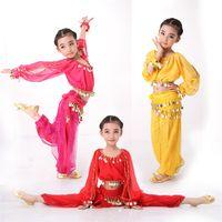 Wholesale Shirred Dress Child - 4PCS SET Belly Dance Costumes Indian Dress for Children Kids Belly Dance Costumes Bollywood Dance Girls Gift S-XXL Long Sleeves