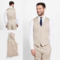 Wholesale corduroy tuxedo suit - 2018 Custom Made Khaki Vest Handsome Men Suit Groomsmen One Piece Slim Fit Best Wedding Suits Bridegroom Vest