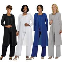 pantolon takım elbiseleri toptan satış-Vintage Artı Boyutu Anne Gelin Damat Elbiseler Ile Pantolon Suits Uzun Kollu Ceket Moda Yaz Özel Vintage Akşam anne