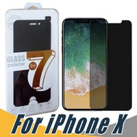 Wholesale glare shield - For iPhone X 8 7 6S 5S Plus Privacy Screen Protector Shield Anti-Spy Peeping Real Tempered Glass With Retail Package