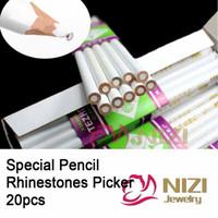 Wholesale Nails Art Pencils - Rhinestone Picker Dotting Pencil For Picking Up Stones And Nail Things 20pcs Nail Art Decoration Tools Rhinestones Pickup Pens