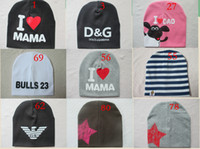 Wholesale Boys Toddler Fitted Caps - 81 style 2015 fashion Autumn baby cap knitted warm cotton toddler beanie Cute kids girl boy I LOVE PAPA MAMA print kid hats 1-3 years old